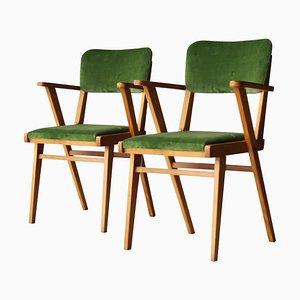 Mid-Century Wood and Green Velvet Italian Armchairs, 1960s, Set of 2