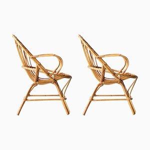 Mid-Century Bambus Sessel, Frankreich, 1970er, 2er Set