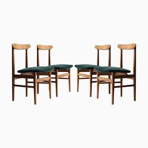 Mid-Century Wood and Green Velvet Swedish Armchairs, 1950s, Set of 4