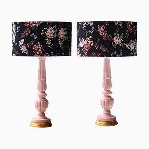 Handgemachte Mid-Century Keramik Tischlampen in Rosa & Schwarz, 2er Set