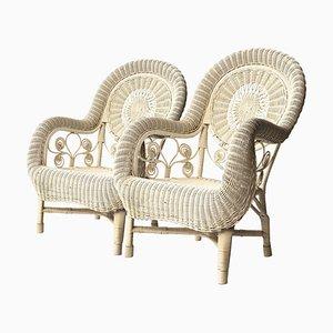 Weißer Mid-Century Sessel aus Naturfasern, Frankreich, 1960er