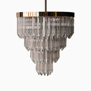 Mid-Century Glass and Brass Chandelier, Italy, 1970s