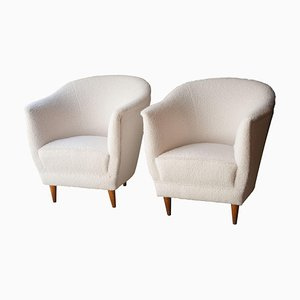 Mid-Century Armchairs Upholstered in White Bouclé Wool, Italy, 1950s, Set of 2