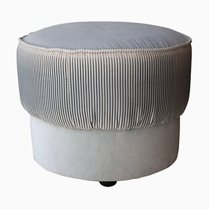 Mid-Century Modern Rounded Blue,White, Grey & Brass Italian Pouf, 1950