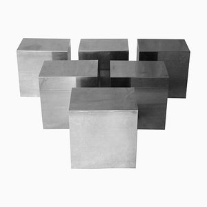 Chromed Modular Cubic-Shaped Centre Side Table, Italy, 1970