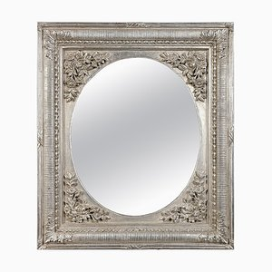 Neoclassical Regency Rectangular Silver Hand-Carved Wooden Mirror, 1970