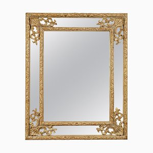 Neoclassical Rectangular Gold Hand-Carved Wooden Mirror, Spain, 1970