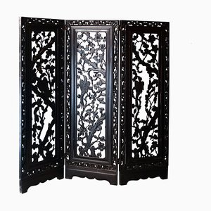 Handcrafted Solid Mahogany Carved Screen, Philippines, 1930