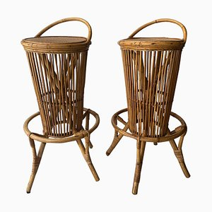 Mid-Century Round Natural Fiber Bamboo Stools, Italy, 1960, Set of 2