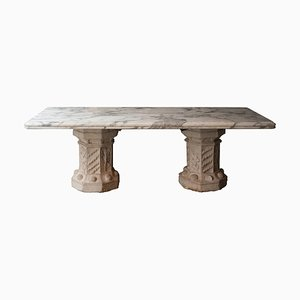 Historical Marble Limestone Handcrafted Column Table, Spain, 1940