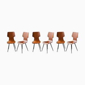 Mid-Century Teak & Black Metal Chairs by Carlo Ratti, Italy, 1950, Set of 6