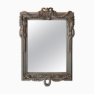 Neoclassical Regency Rectangular Silver & Hand-Carved Wooden Mirror, Spain, 1970