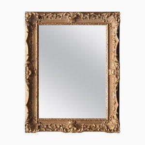 Neoclassical Rectangular Golden Hand-Carved Wooden Mirror, Spain, 1970