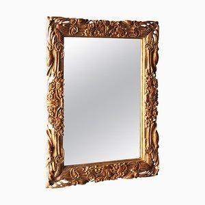Art Nouveau Style Rectangular Gold Foil Hand-Carved Wooden Mirror, 1970