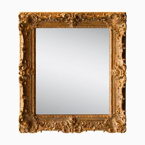 Neoclassical Empire Rectangular Gold Hand-Carved Wooden Mirror, Spain, 1970