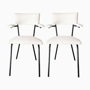 Mid-Century Modern Italian Black Lacquered Iron and White Bouclé Chairs, 1960
