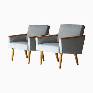 Tschechoslowakische Mid-Century Sessel aus blauem Samt & Birkenholz, 1960er, 2er Set