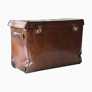 English Rectangular Brown Leather Trunk, 1930