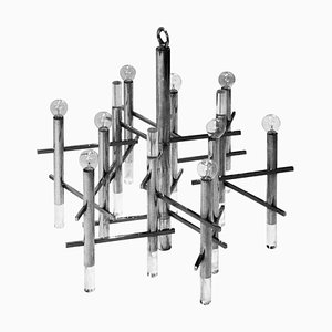 Chrome and Lucite Chandelier by Gaetano Sciolari, Italy, 1960