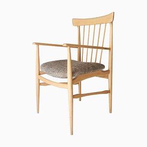 Mid-Century Modern Beige Beechwood Armchair, United States, 1950