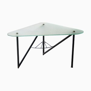 French Triangular Metal Frosted Glass Coffee Table in the Style of Louis Sognot, 1950