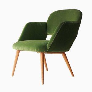 Mid-Century Modern Green Velvet & Teak Armchair, Czech Republic, 1960