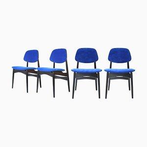 Mid-Century Modern Italian Blue Velvet & Black Wood Chairs, 1950, Set of 4