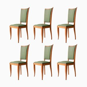 Art Deco French Interwar Green Leatherette & Wood Chairs, 1940, Set of 6