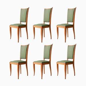 Französische Art Deco Stühle aus Grünem Interwwar Kunstleder & Holz, 1940, 6er Set