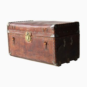 Spanish Colonial Brown Leather Cargo Trunk, Haiti, 1900