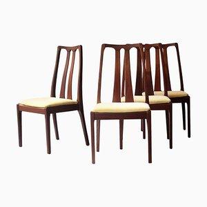 Mid-Century Modern Yellow & Brown Teak Chairs, United Kingdom, 1970, Set of 4