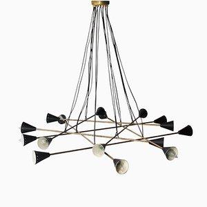 Italian Triangular Black & Brass Ceiling Lamp in the Style of Stilnovo, 1950