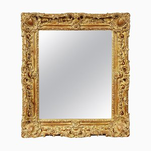 Regency Rectangular Handcrafted Gold Foil Wood Mirror, Spain, 1970