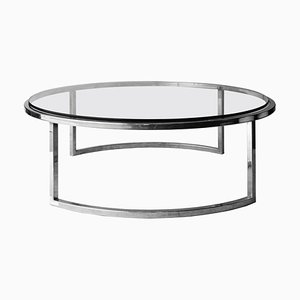 Mid-Century Modern Italian Circular Grey Chrome, Glass & Steel Center Table, 1960