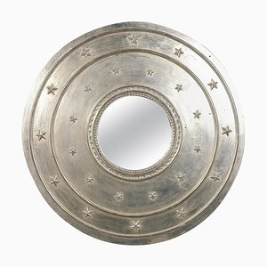 Neoclassical Empire Style Round Silver Wooden Mirror, Spain, 1970