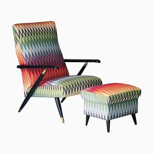 Mid-Century Modern Multicolored Black Armchair with Footrest Set, Italy, 1950