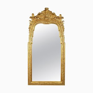 Neoclassical Regency Rectangular Gold Hand-Carved Wooden Mirror