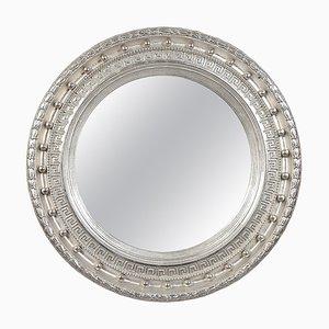 Handgefertigter silberner handgemusterter neoklassizistischer Empire Holz Spiegel