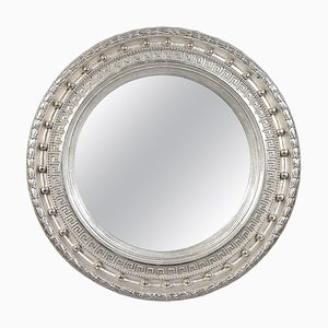Neoclassical Empire Round Silver Hand-Carved Wooden Mirror