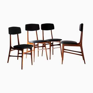 Mid-Century Italian Brown, Grey, Wood & Faux Leather Chairs, 1950, Set of 4
