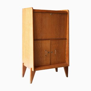 Mid-Century Modern Oak & Brass Bar Cabinet by René Gabriel, France, 1950