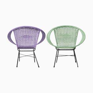 Mid-Century Modern Blue, Purple, Iron & Black Fiber Armchairs, Italy, 1960, Set of 2