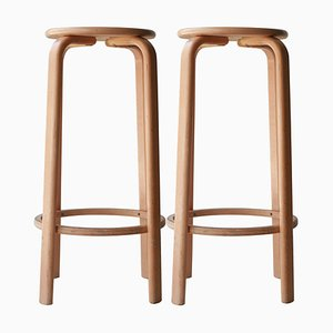 Laminated Wood Stools in the Style of Alvar Aalto, Finland, 1970, Set of 4