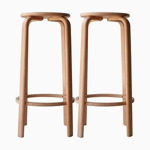 Laminierte Hocker aus Holz im Stil von Alvar Aalto, Finnland, 1970, 4er Set