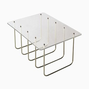 Mid-Century Modern Gold Brass & Methacrylate Coffee Table, France, 1970