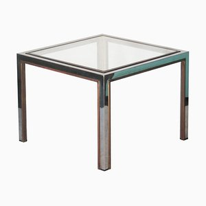 Mid-Century Modern Square Steel & Brass Side Table, France, 1970