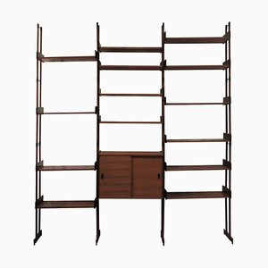 Mid-Century Modern Italian Rectangular Brown Wood Modular Shelf, 1950