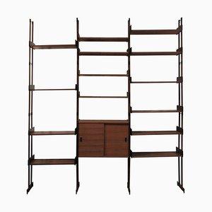 Mid-Century Modern Italian Rectangular Brown Wood Modular Shelf, 1950
