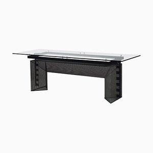Italian Black Steel & Crystal Tesi Table by Mario Botta, 1986