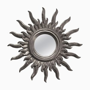 Mid-Century French Silver Wood Sun Mirror, 1960